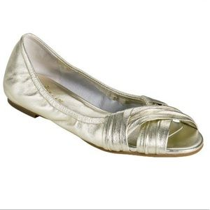 Cole Haan Air Open Toe Gold Nadine Flats
